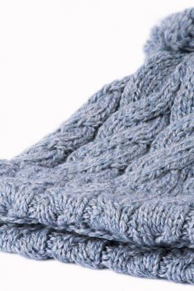 Super Soft Merino Cabled Hat - Ocean Grey