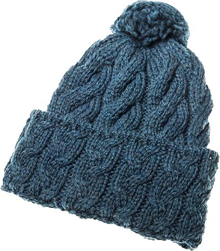 Super Soft Merino Cabled Hat - Irish Sea