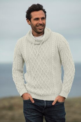 Natural Aran Sweater With Drawcord Neck