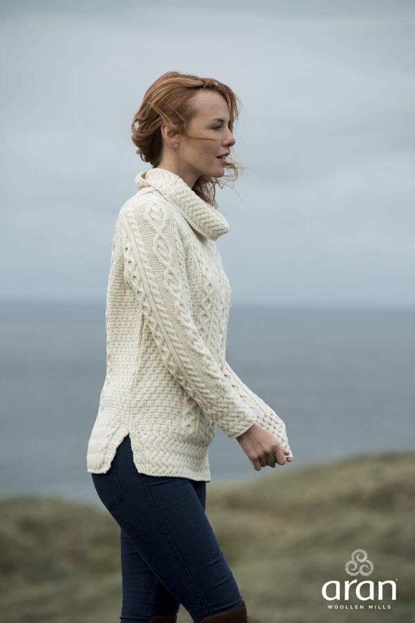 Longline Aran Sweater - Natural White