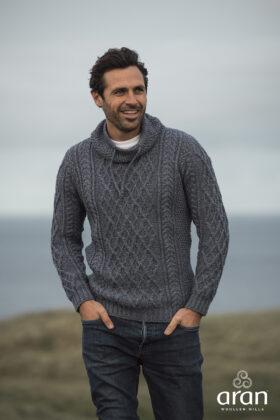Denim Marl Aran Sweater With Drawcord Neck