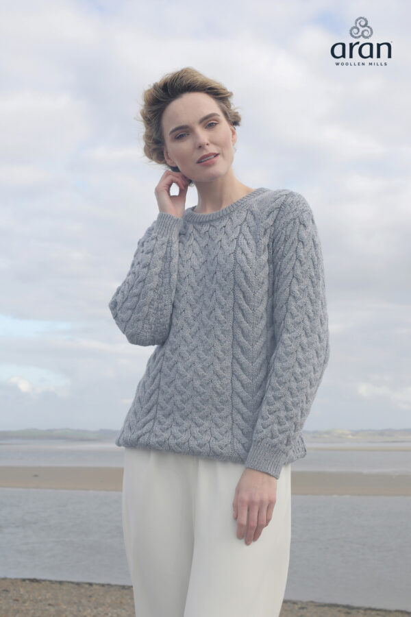 Super Soft Merino Aran Sweater - Ocean Grey