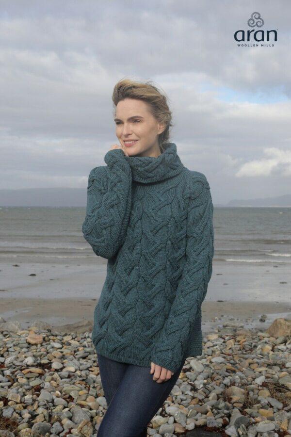 Super Soft Merino Cable Sweater - Irish Sea