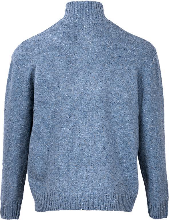 Blue Fleck Donegal Wool Zip Neck Sweater