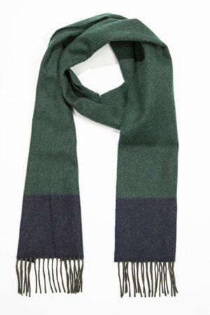 Green & Navy Herringbone Lambswool Scarf