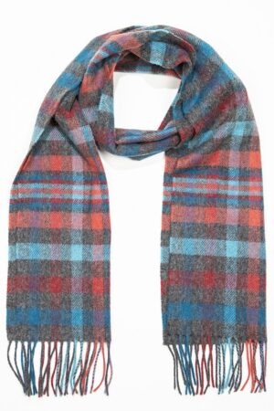 Grey, Aqua, Pink & Red Check Lambswool Scarf
