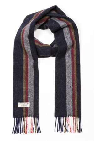 Charcoal, Silver, Red & Mustard Stripe Lambswool Scarf