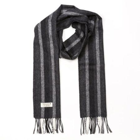 Black & Grey Warp Stripe Lambswool Scarf