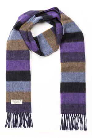 Purple, Charcoal, Blue & Tan Lambswool Scarf