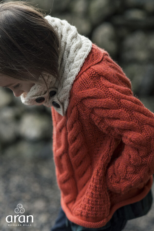 Child's Button Up Cabled Cowl - Natural