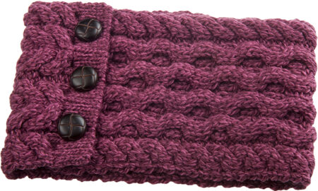 Child's Button Up Cabled Cowl - Raspberry