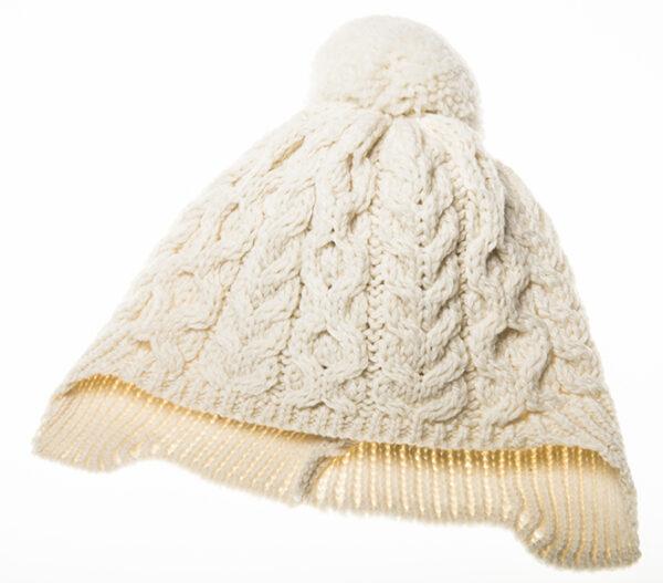 Child's Pompom Ear Flap Hat - Natural