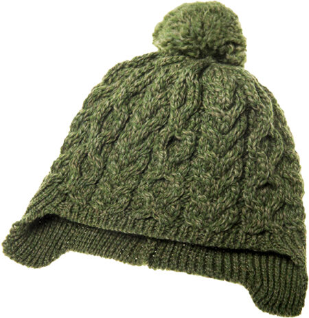 Child's Pompom Ear Flap Hat - Forest