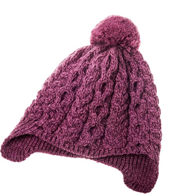 Child's Pompom Ear Flap Hat - Raspberry