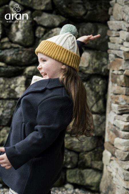 Child's Aran Pompom Hat - Sunflower