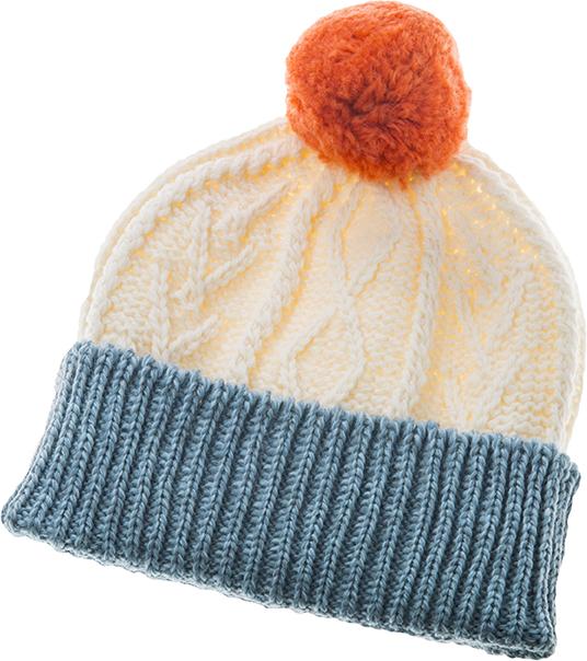 Child's Aran Pompom Hat - Blue