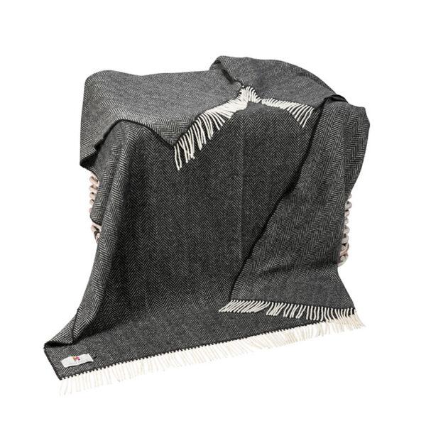 Charcoal Grey Herringbone Cashmere Throw