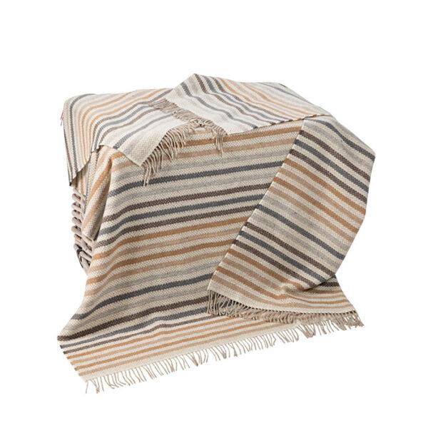 Oat Slate & Camel Stripe Cashmere Throw.