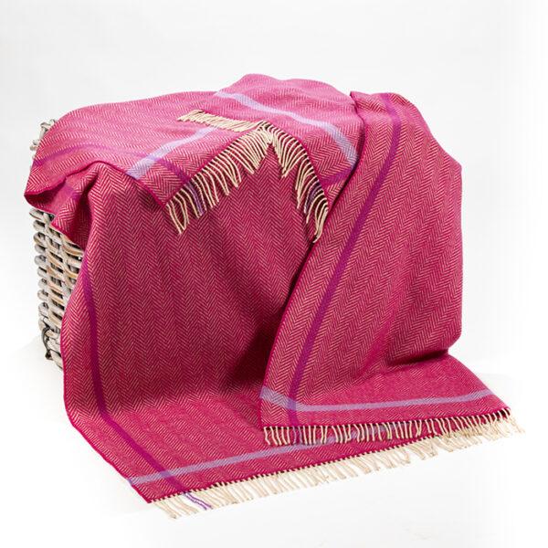 Raspberry Cream & Purple Cashmere Throw