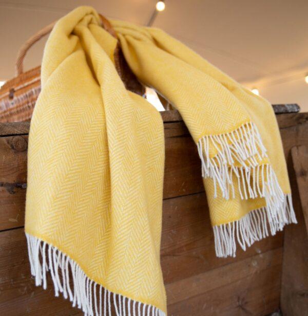 Yellow Herringbone Cashmere Throw