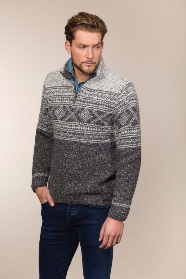 Jacquard Patterned Zip Neck Sweater - Greystone