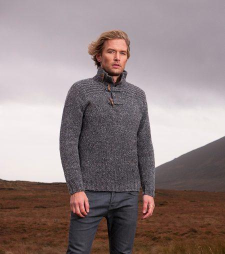 Greystone Toggle Button Collar Sweater