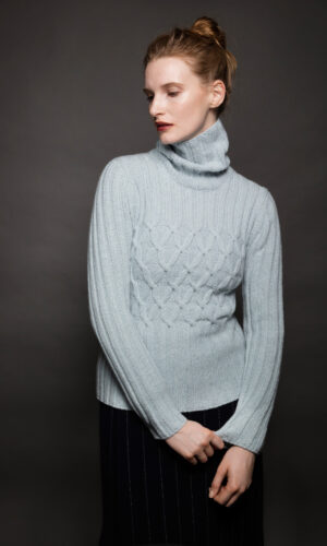 Light Grey Ribbed Polo Neck Sweater with Criss Cross Cabled Chest