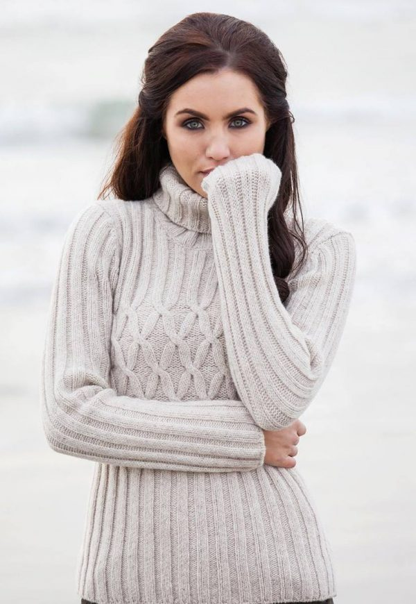 Oatmeal Ribbed Polo Neck Sweater with Criss Cross Cabled Chest