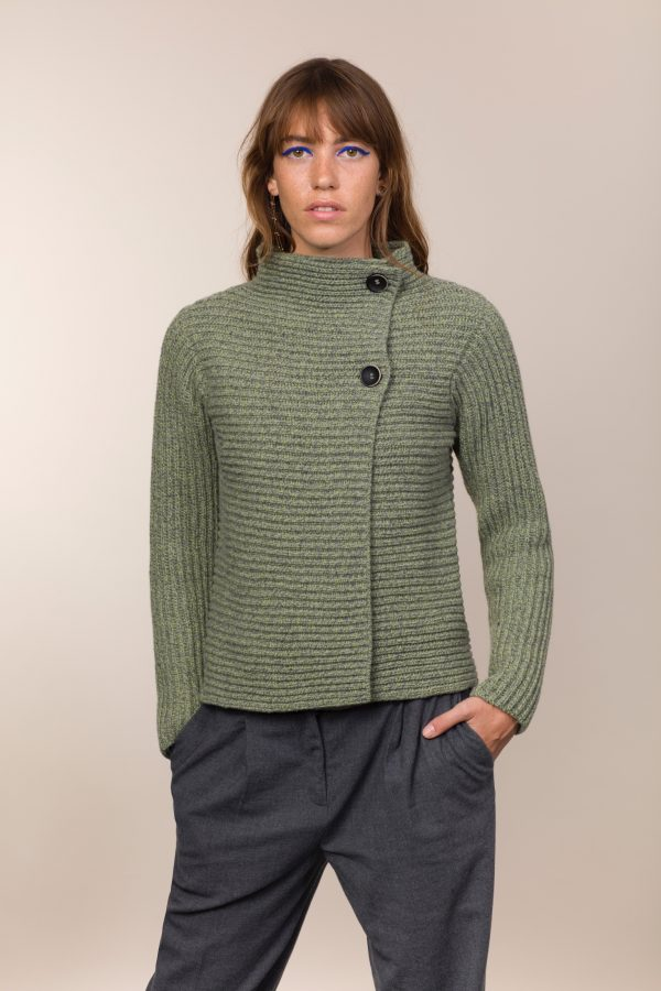 Green/Mid Grey Horizontal Ribbed Two Button Cardigan