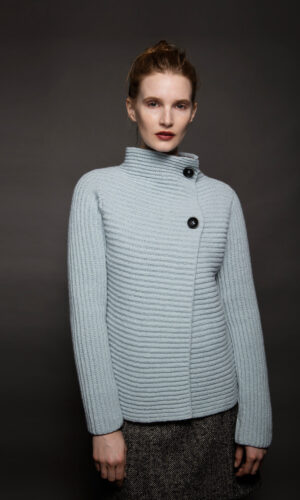 Light Blue Horizontal Ribbed Two Button Cardigan