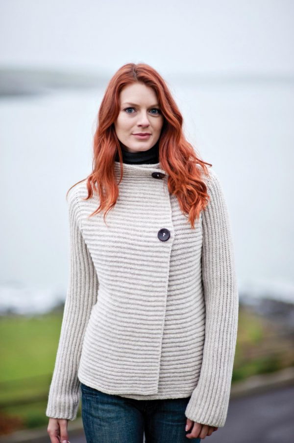 Oatmeal Horizontal Ribbed Two Button Cardigan