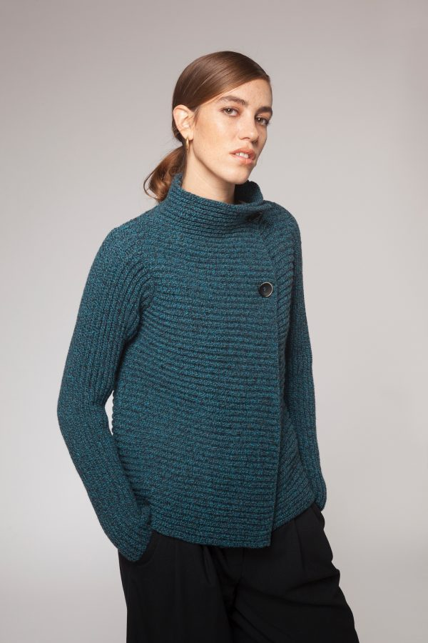 Turquoise/Grey Horizontal Ribbed Two Button Cardigan