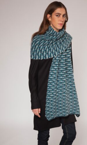 Turquoise Shell Stitch Wide Scarf