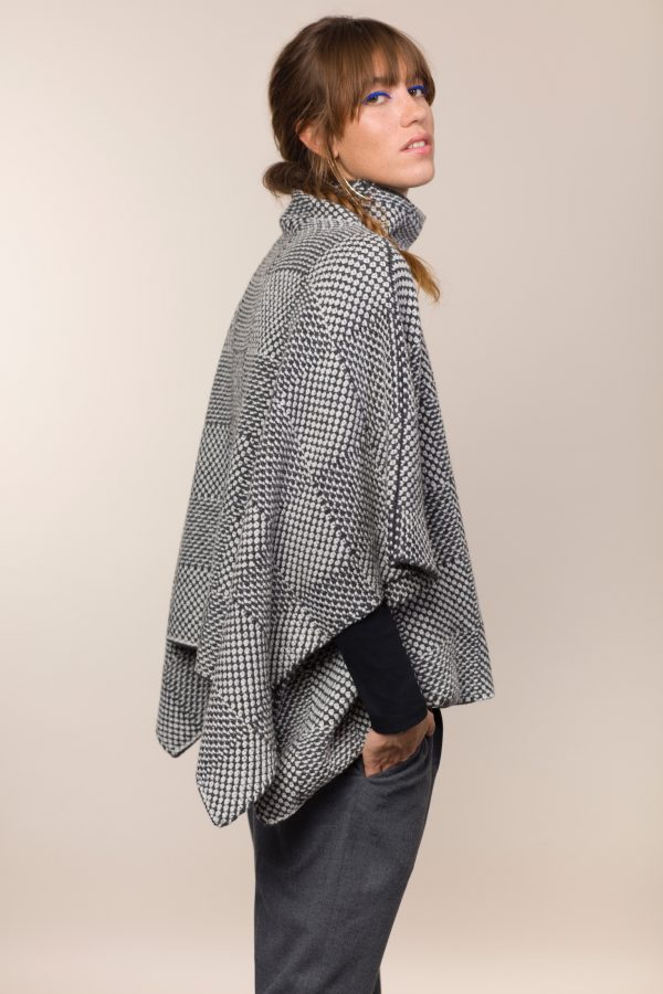 Shadow Blocked Funnel Neck Poncho