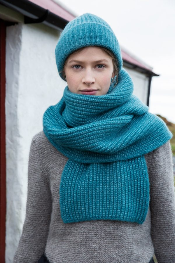 Turquoise Alpaca, Wool and Cotton Ribbed Hat and Scarf