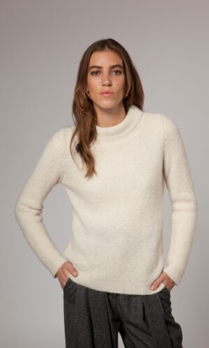 Ecru Links Stitch Mock Neck Sweater
