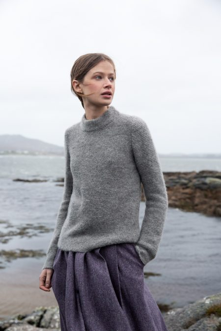 Smoke Links Stitch Mock Neck Sweater