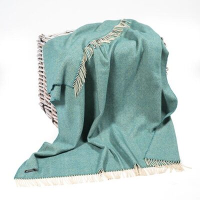 Aqua Green Herringbone Cashmere and Merino Throw