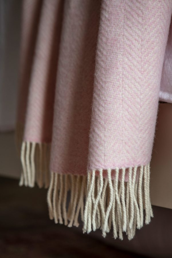 Baby Pink Cashmere and Merino Throw