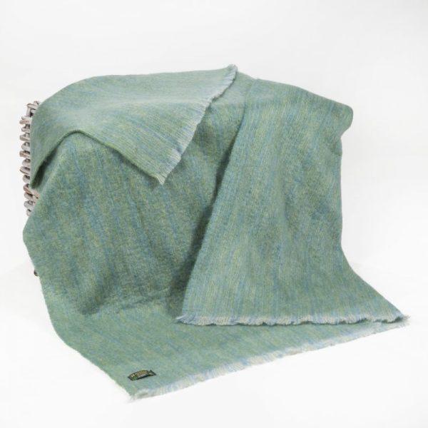 Pale Green Blue Mohair Throw
